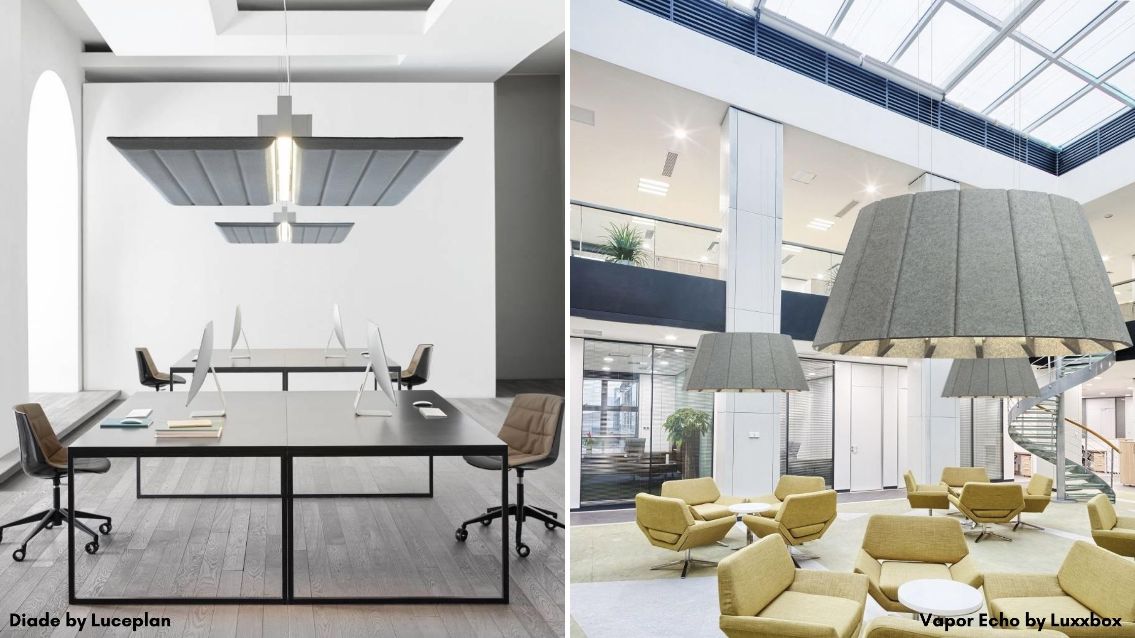 Grey rectangular and circular acoustic light fixtures suspended from ceilings over shared workstations and lounge chairs