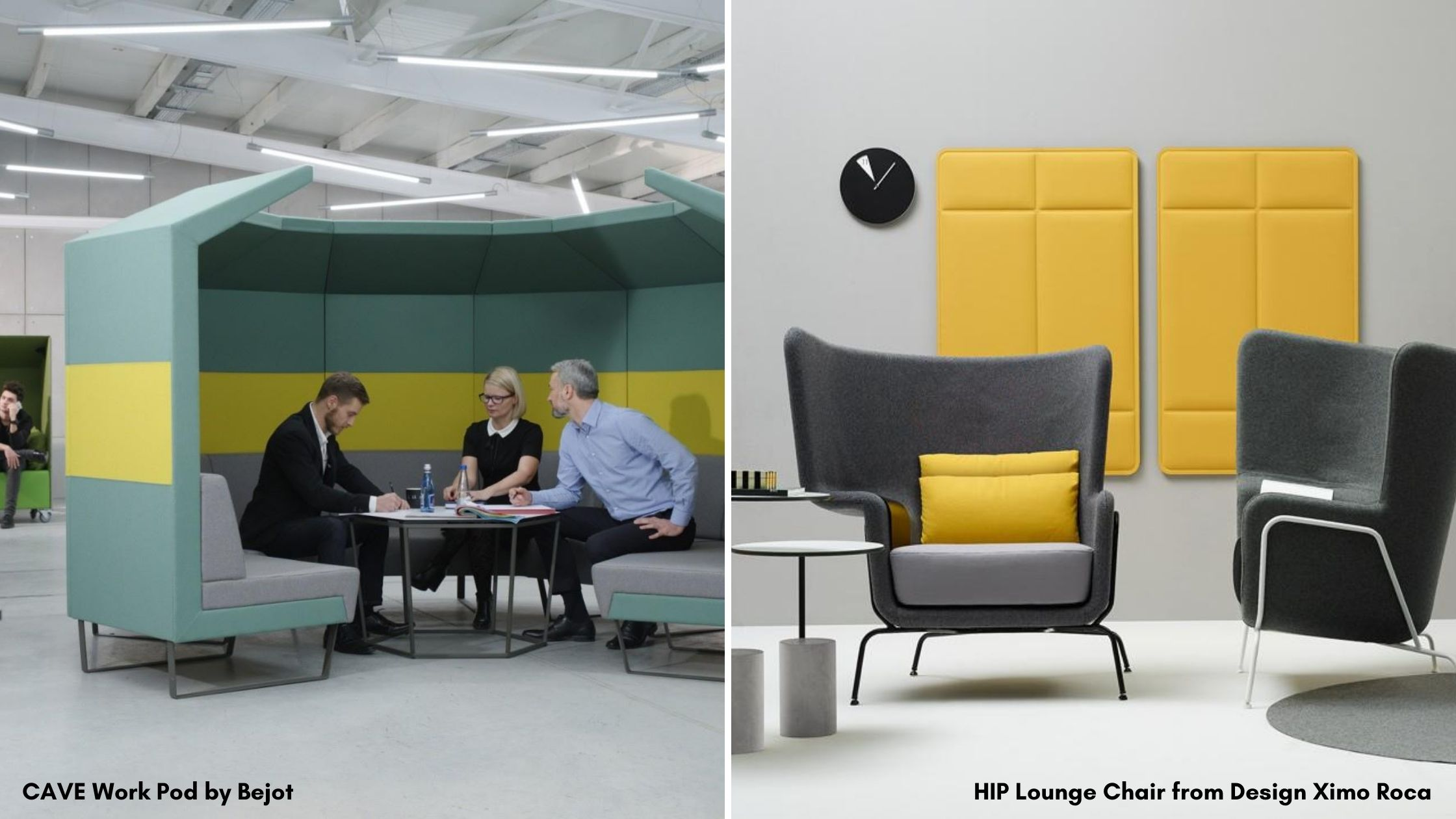 Multi-colour acoustic office caves and lounge chairs in an office workspace